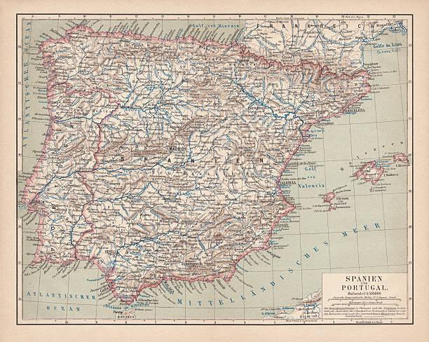 ilustrações de stock, clip art, desenhos animados e ícones de espanha e portugal, publicada em 1878 - ibiza