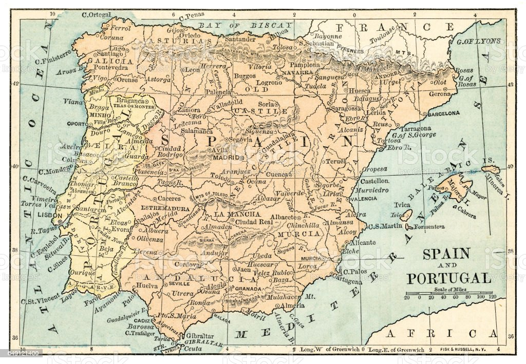 Map Of Portugal And Spain Detailed.Spain And Portugal Map 1875 Stock Illustration Download Image Now