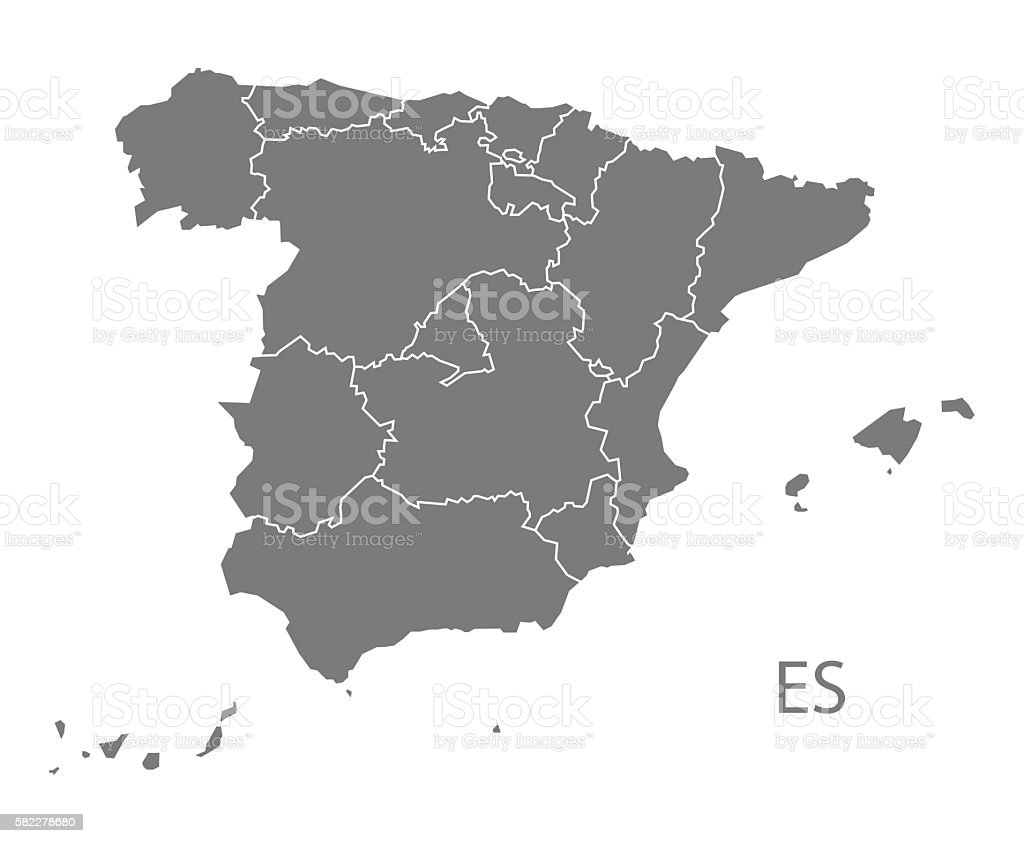 Spain Map with provinces grey vector art illustration