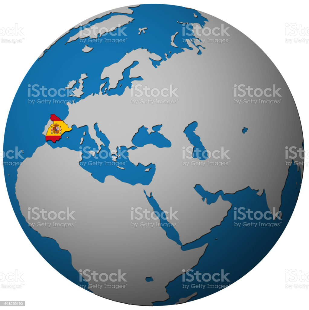 Map Of The World Spain.Spain Territory With Flag On Map Of Globe Stock Vector Art More
