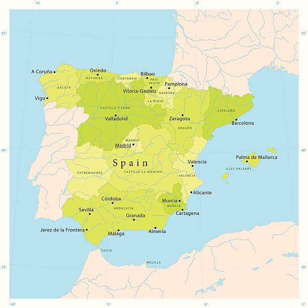 ilustrações de stock, clip art, desenhos animados e ícones de vetor mapa de espanha - douro