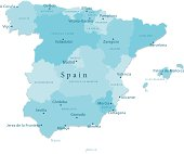 Spain Vector Map Regions Isolated