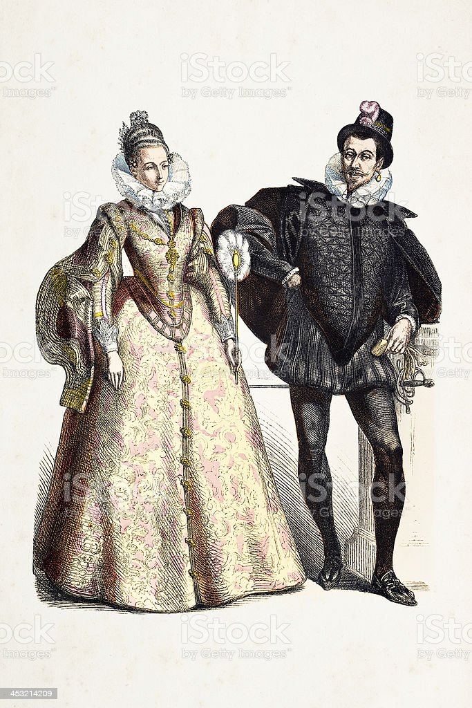 Spanish aristocratic couple in traditional clothing from 16th century royalty-free stock vector art