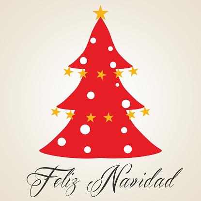 Spanish Christmas Tree with stars and jingle bells, Feliz Navidad