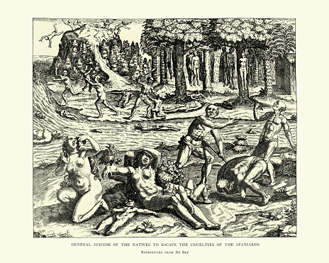 Vintage engraving of Spanish conquest of the americas. General suicide of natives to escape the cruelties of the Spaniards.  After Theodor de Bry, 16th Century