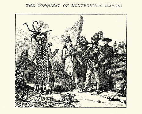 Vintage engraving of Spanish conquistadors meeting the Aztecs