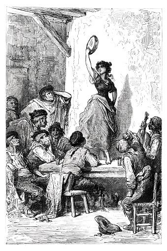 Spanish gypsy woman dancing Flamenco near Seville 1864