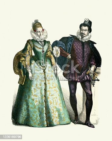 Vintage illustration of History of fashion, Spanish noble fashions of the 16th Century. Woman in green dress with slashed sleeves, man in purple doublet and hose, both wearing neck ruffs.