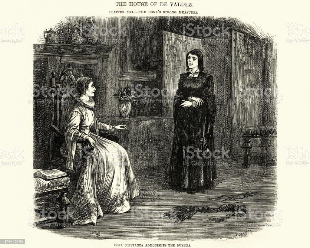 Spanish noblewoman tell off a Chaperone, 17th Century vector art illustration