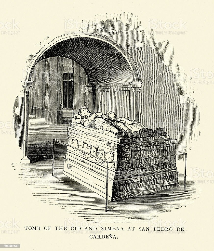 Spanish Pictures - Tomb of El Cid and Jimena vector art illustration