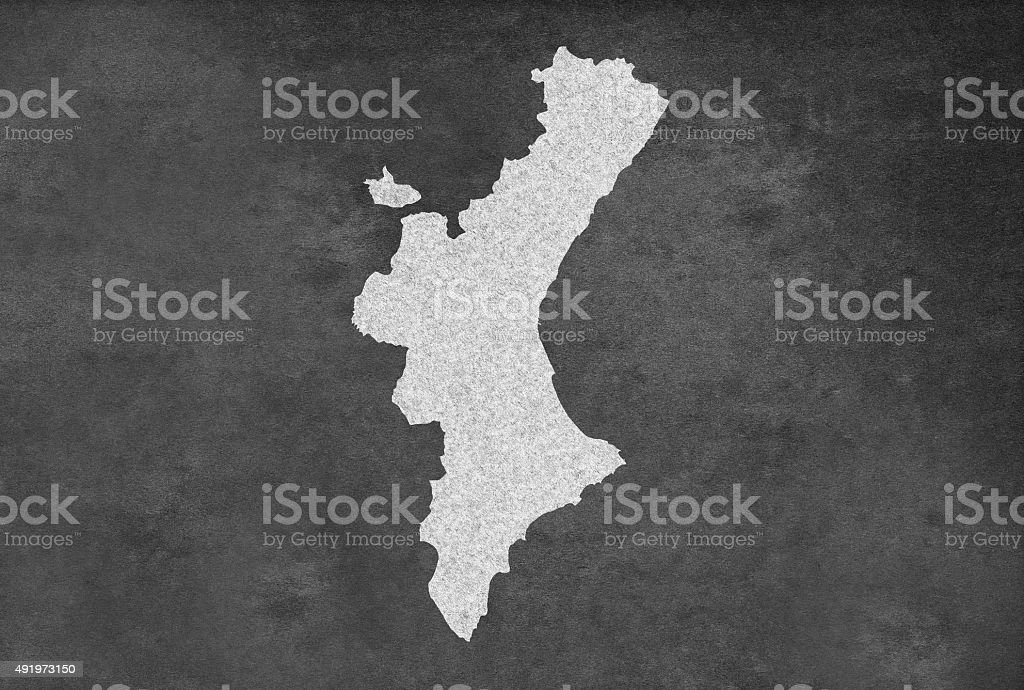 spanish province of valencia map outline on an blackboard royalty free stock vector art
