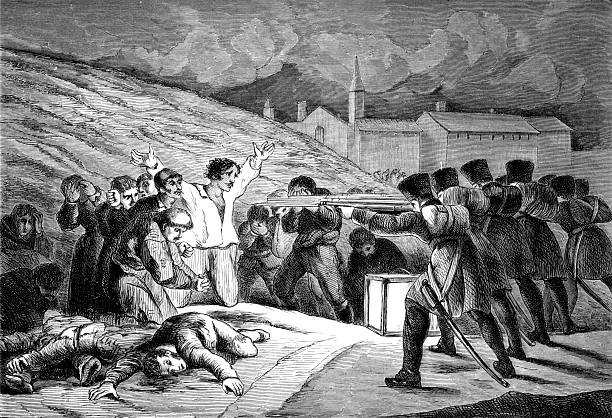 Spanish Resistance to Napoleon's Army in Goya's 1808 Painting  mass murder stock illustrations