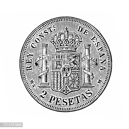 Illustration of a Spanish silver coin ,18th century