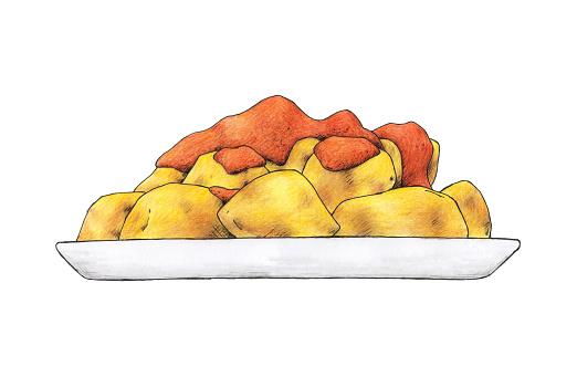 Spanish 'tapa' of hot potatoes