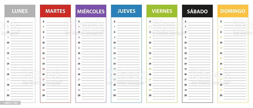 Calendario Spagnolo.Spagnolo Settimana Pianificazione Calendario Di Colori Del