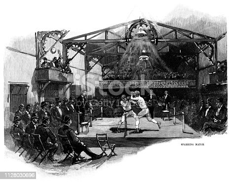 "Two men sparring in the boxing ring at the California Athletic Club in San Francisco, United States of America, c1890. From ""Harper's Weekly - A Journal of Civilization"" Volume XXXIV No. 1737 of Saturday 5th April 1890. Published by Harper & Brothers and costing 10 cents including supplement."