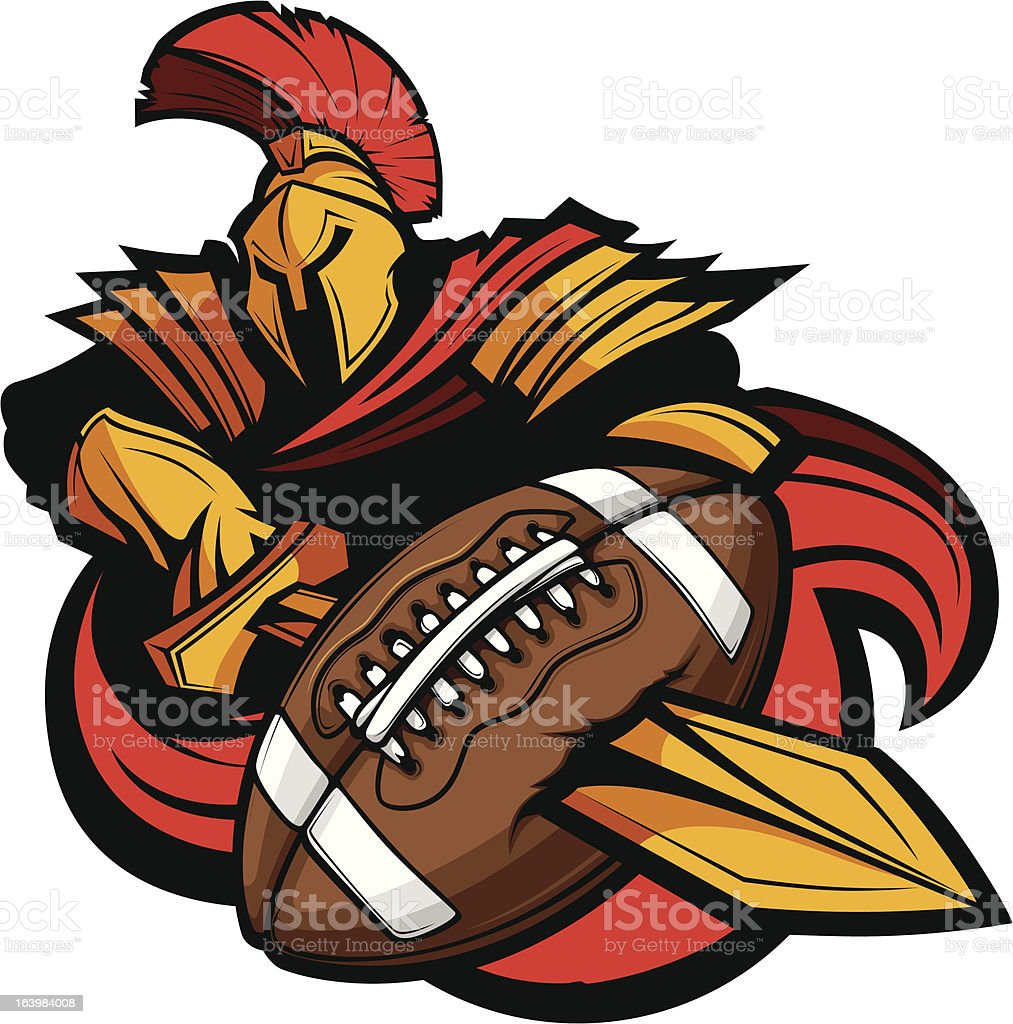 Spartan Football Mascot Body with Sword and Ball Vector Illustration royalty-free spartan football mascot body with sword and ball vector illustration stock vector art & more images of american football - ball