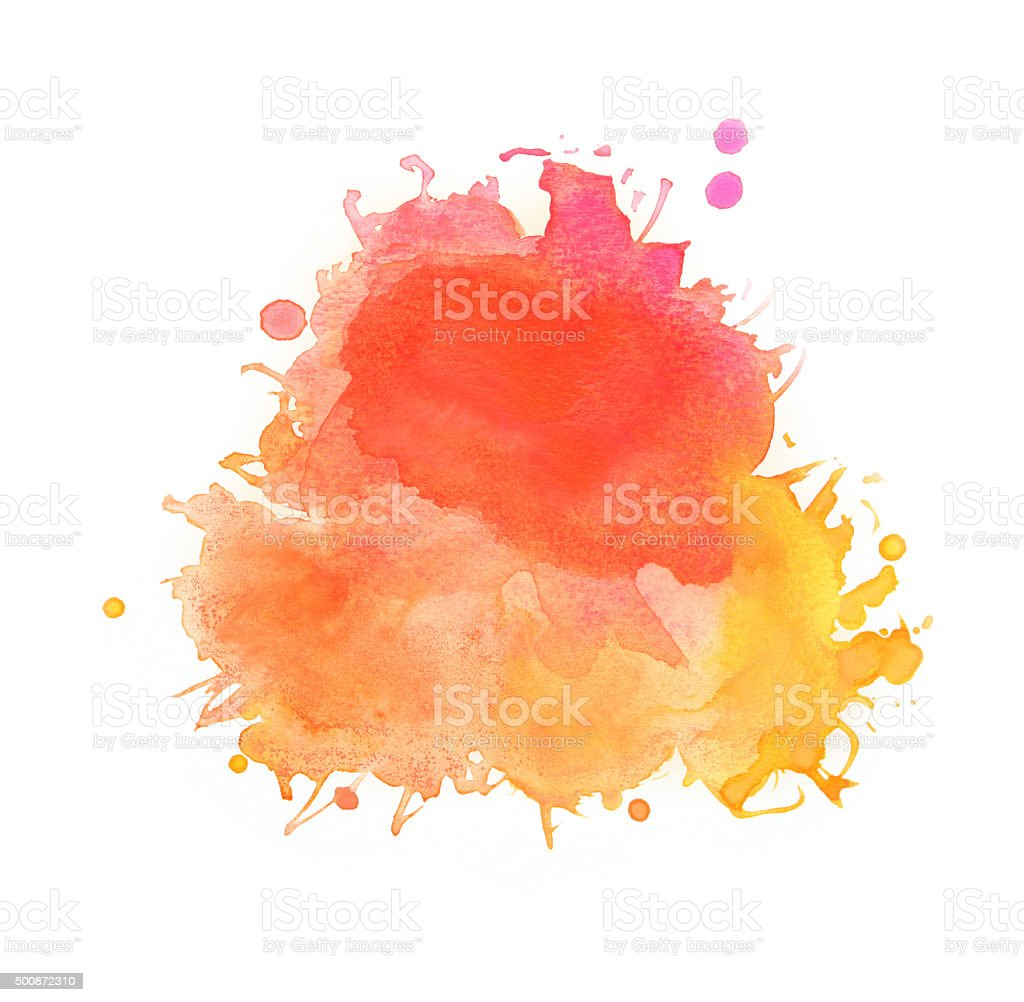 Spattered watercolors, yellow, red and orange paints on white background vector art illustration