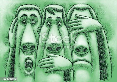 digital painting / raster illustration of speak no evil, see no evil, hear no evil