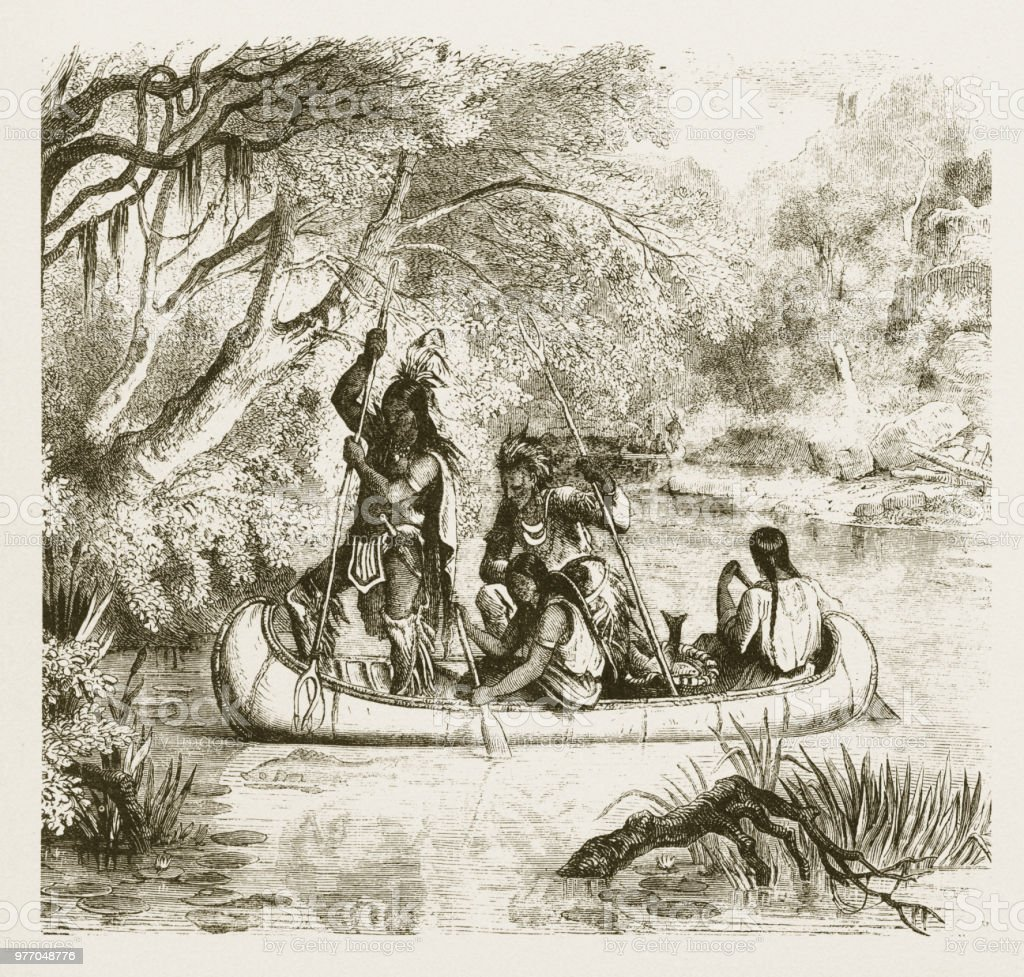 Spear Fishing From A Canoe American Indians Engraving 1859 ...