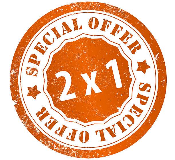 Oferta especial 2 x 1 sello - ilustración de arte vectorial