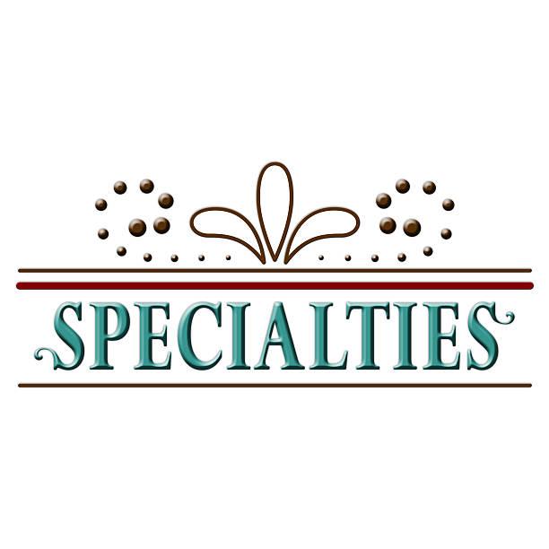 Specialties Header Word Text Design vector art illustration