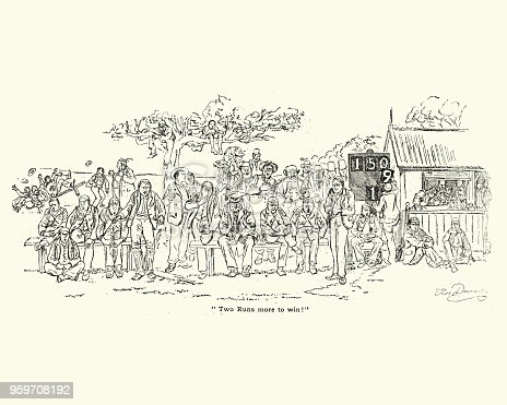 Vintage engraving of Spectators watching a victorian cricket match