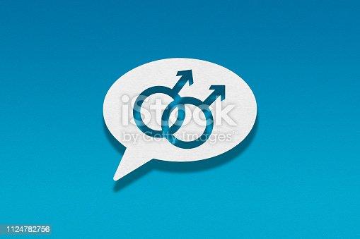 Speech bubble on blue background, Gay Symbol
