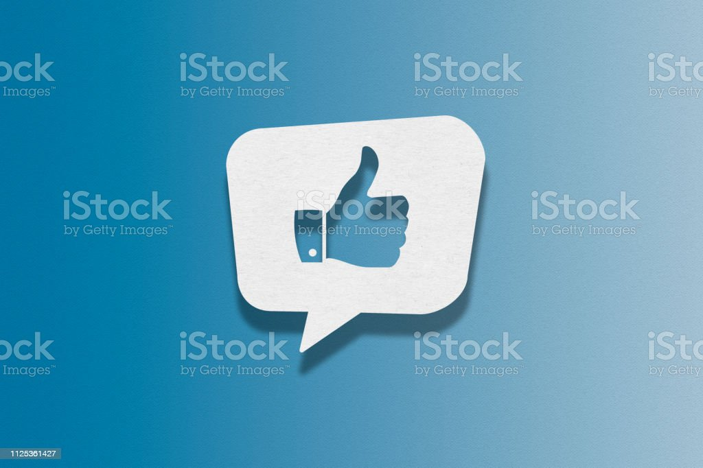 Speech bubble on blue background, Thumbs Up royalty-free speech bubble on blue background thumbs up stock illustration - download image now
