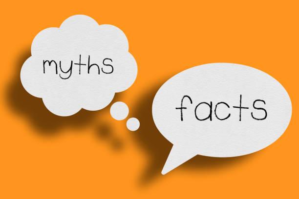 speech bubble on orange background, myths facts - mythology stock illustrations