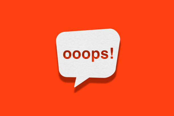 Speech bubble on orange background, Ooops Speech bubble on orange background, Ooops mistake stock illustrations