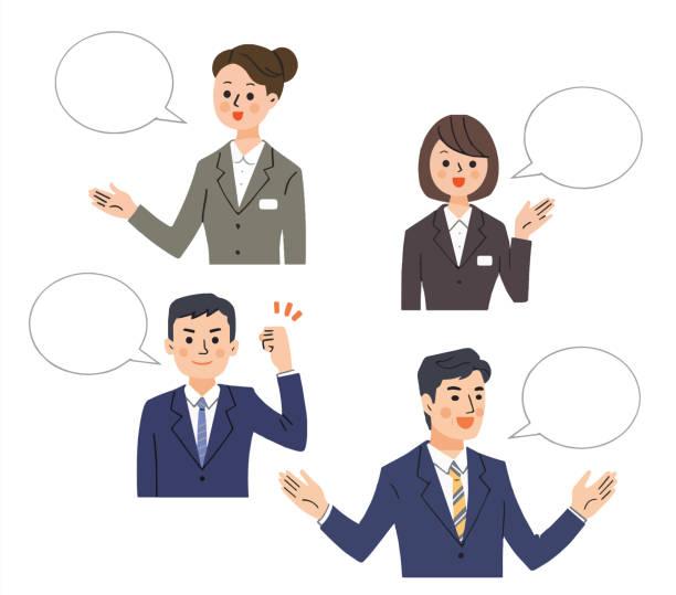 ilustrações de stock, clip art, desenhos animados e ícones de speech bubble with four men and women talking in the business scene - da cintura para cima