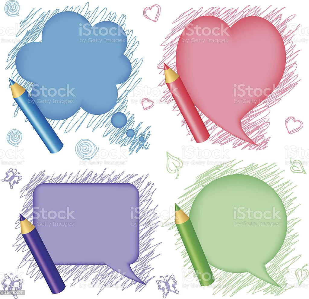 Speech bubbles and pencils royalty-free stock vector art