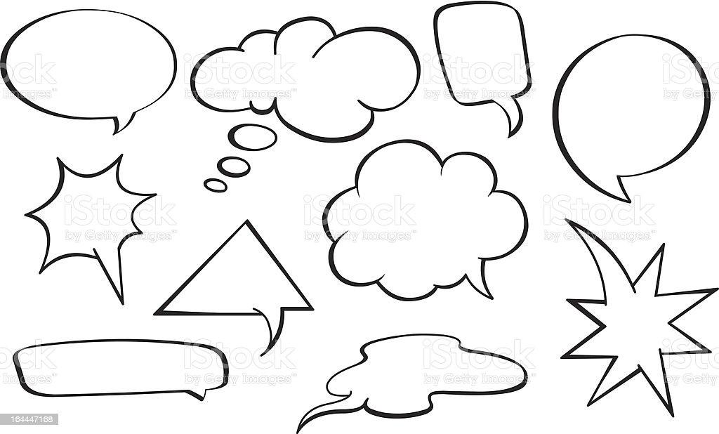 Speech bubbles set vector art illustration