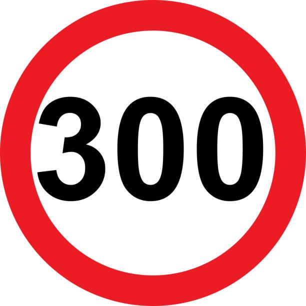 illustrazioni stock, clip art, cartoni animati e icone di tendenza di 300 speed limitation road sign - cartello stradale italia km