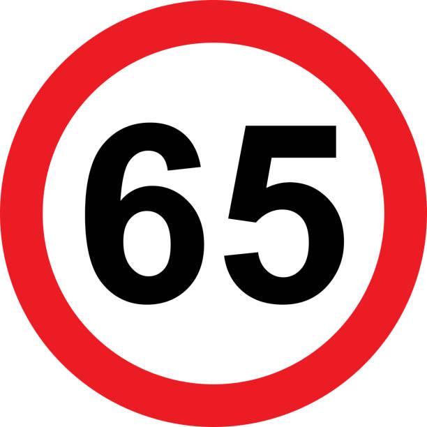 illustrazioni stock, clip art, cartoni animati e icone di tendenza di 65 speed limitation road sign - cartello stradale italia km