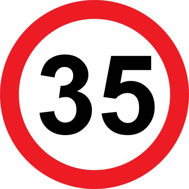 illustrazioni stock, clip art, cartoni animati e icone di tendenza di 35 speed limitation road sign - cartello stradale italia km