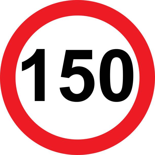 illustrazioni stock, clip art, cartoni animati e icone di tendenza di 150 speed limitation road sign - cartello stradale italia km