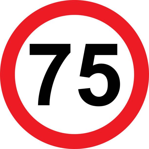 illustrazioni stock, clip art, cartoni animati e icone di tendenza di 75 speed limitation road sign - cartello stradale italia km