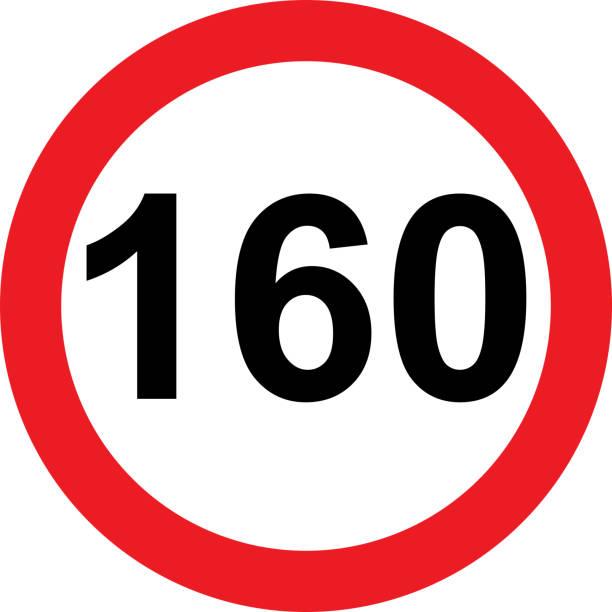 illustrazioni stock, clip art, cartoni animati e icone di tendenza di 160 speed limitation road sign - cartello stradale italia km