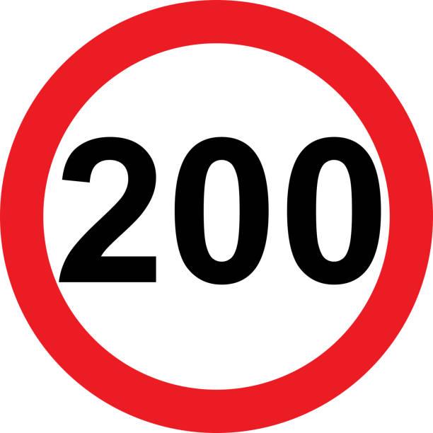 illustrazioni stock, clip art, cartoni animati e icone di tendenza di 200 speed limitation road sign - cartello stradale italia km