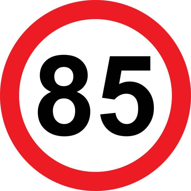 illustrazioni stock, clip art, cartoni animati e icone di tendenza di 85 speed limitation road sign on white background - cartello stradale italia km