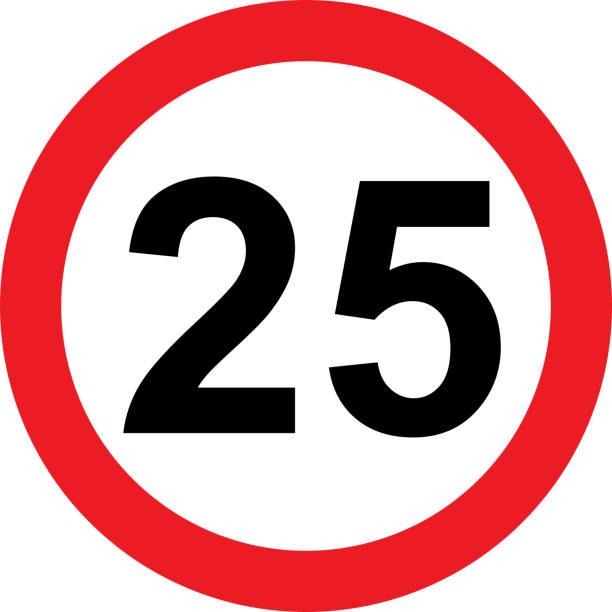 illustrazioni stock, clip art, cartoni animati e icone di tendenza di 25 speed limitation road sign on white background - cartello stradale italia km