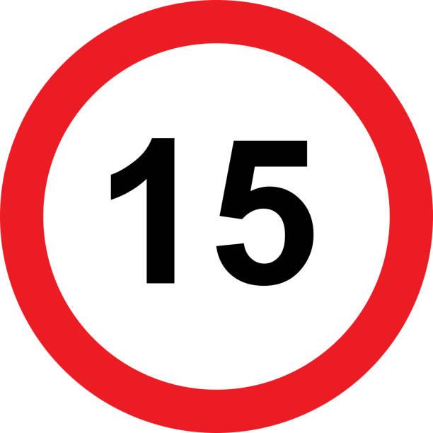 illustrazioni stock, clip art, cartoni animati e icone di tendenza di 15 speed limitation road sign on white background - cartello stradale italia km