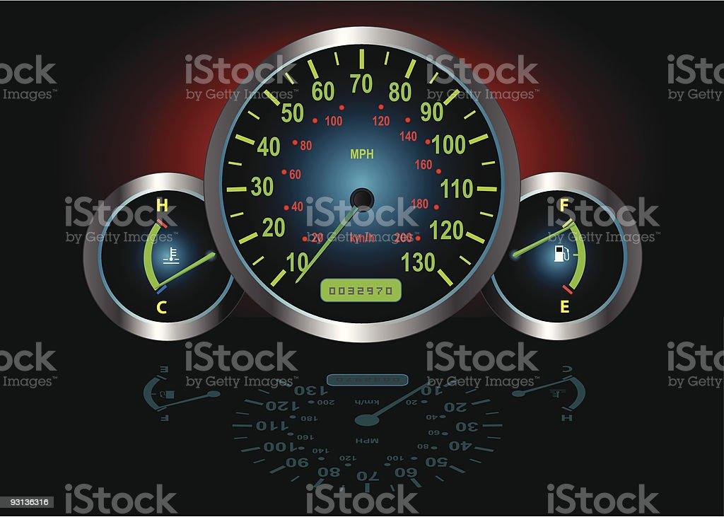 Speedometer, Fuel & Temperature Guage (Vector) vector art illustration
