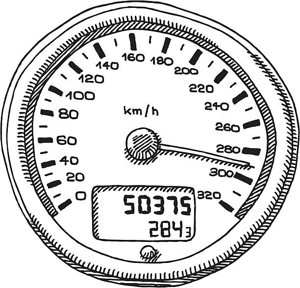 """Speedometer km/h Drawing """"Hand-drawn vector sketch of a Sports Car Speedometer, Unit: km/h. The pointer is about to reach the 300 Kilometers per Hour Mark. Black-and-White sketch on a transparent background (.eps-file). Included files: EPS (v8) and Hi-Res JPG."""" motor sport stock illustrations"""