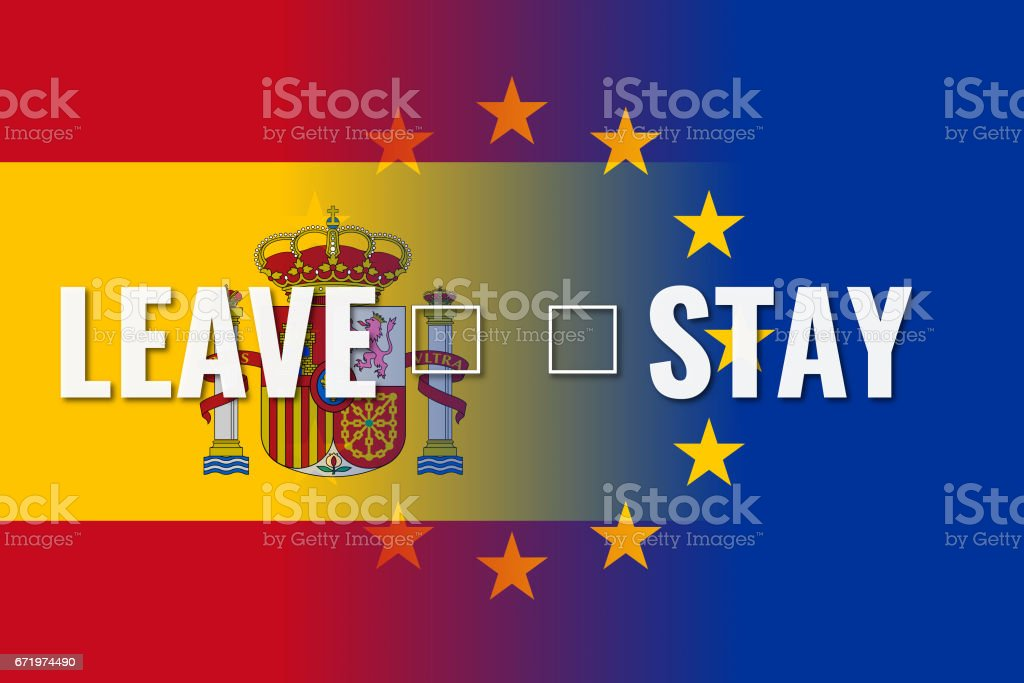 spexit europe union and spain flags with choice leave stay stock