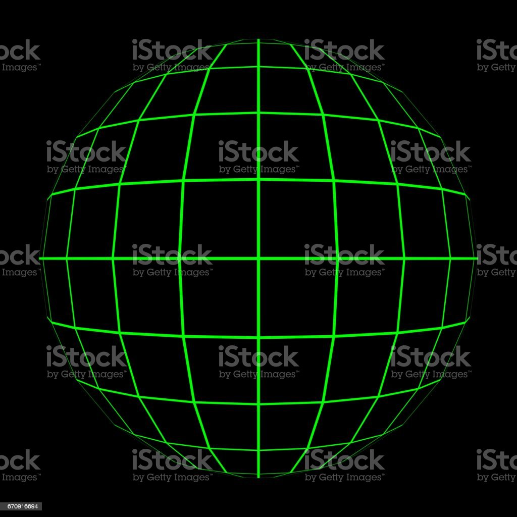 3D Sphere Mesh with Glowing Green Grid Lines 3D Illustration vector art illustration