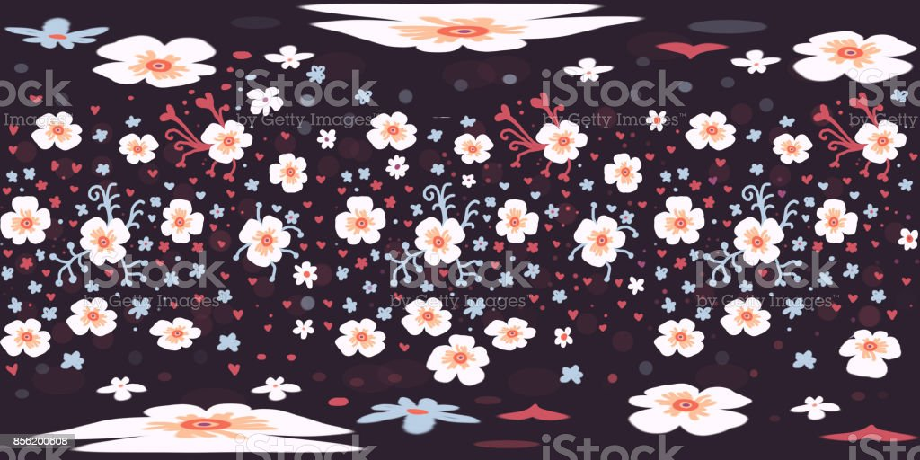 Spherical 360 degrees equirectangular projection, hand drawn seamless floral pattern. VR content vector art illustration