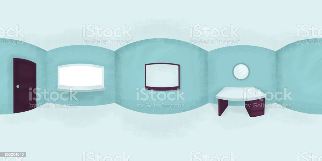Spherical 360 degrees seamless equirectangular projection, illustration of an empty flat with a table, mirror and a TV set. VR content vector art illustration